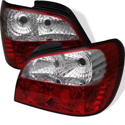 Headlights & Tail Lights - Tail Lights - Spyder - Subaru WRX Spyder ED Taillights - Red Clear - 111-SI01-LED-RC