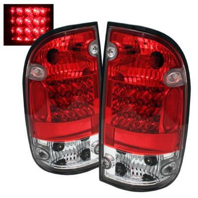 Headlights & Tail Lights - Tail Lights - Spyder - Toyota Tacoma Spyder LED Taillights - Red Clear - 111-TT01-LED-RC