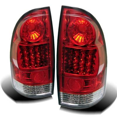Headlights & Tail Lights - Tail Lights - Spyder - Toyota Tacoma Spyder LED Taillights - Red Clear - 111-TT05-LED-RC