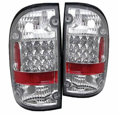 Headlights & Tail Lights - Tail Lights - Spyder - Toyota Tacoma Spyder LED Taillights - Chrome - 111-TT95-LED-C