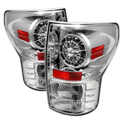 Headlights & Tail Lights - Tail Lights - Spyder - Toyota Tundra Spyder LED Taillights - Chrome - 111-TTU07-LED-C