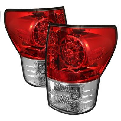 Headlights & Tail Lights - Tail Lights - Spyder - Toyota Tundra Spyder LED Taillights - Red Clear - 111-TTU07-LED-RC