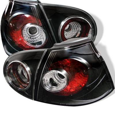 Headlights & Tail Lights - Tail Lights - Spyder - Volkswagen Golf Spyder Euro Style Taillights - Black - 111-VG03-BK