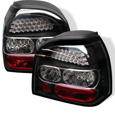 Headlights & Tail Lights - Tail Lights - Spyder - Volkswagen Golf Spyder LED Taillights - Black - 111-VG92-LED-BK