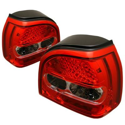 Headlights & Tail Lights - Tail Lights - Spyder - Volkswagen Golf Spyder LED Taillights - Red Clear - 111-VG92-LED-RC