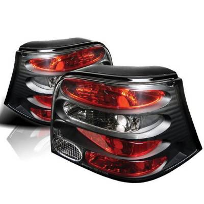 Headlights & Tail Lights - Tail Lights - Spyder - Volkswagen Golf Spyder Euro Style Taillights - Black - 111-VG99-BK