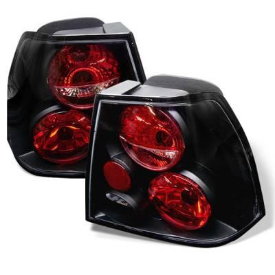 Headlights & Tail Lights - Tail Lights - Spyder - Volkswagen Jetta Spyder Euro Style Taillights - Black - 111-VJ99-BK