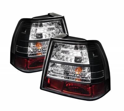Headlights & Tail Lights - Tail Lights - Spyder - Volkswagen Jetta Spyder LED Taillights - Black - 111-VJ99-LED-BK