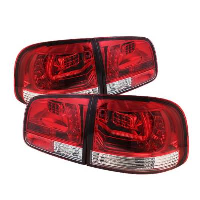 Headlights & Tail Lights - Tail Lights - Spyder - Volkswagen Touareg Spyder LED Taillights - Red Clear - 111-VTOU04-LED-RC