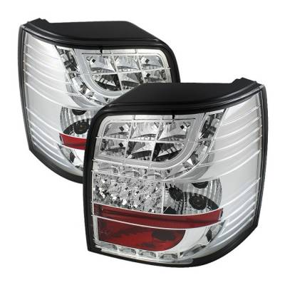 Headlights & Tail Lights - Tail Lights - Spyder - Volkswagen Passat Spyder Light Bar Style LED Taillights - Chrome - 111-VWPAT97-5D-LBLED-C
