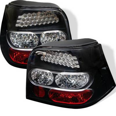 Headlights & Tail Lights - Tail Lights - Spyder Auto - Volkswagen Golf Spyder LED Taillights - Black - 444-AA306-LTDRL-BK