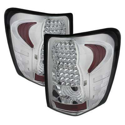 Headlights & Tail Lights - Tail Lights - Spyder - Jeep Grand Cherokee Spyder LED Taillights - Chrome - ALT-JH-JGC99-LED-C