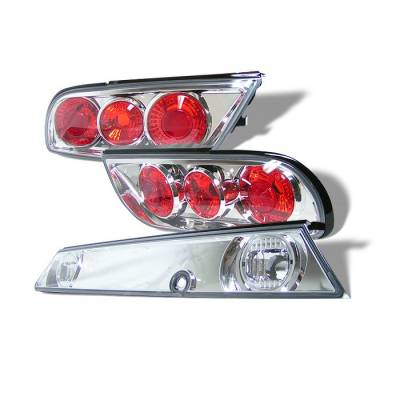 Headlights & Tail Lights - Tail Lights - Spyder - Nissan 240SX Spyder Euro Taillights - Chrome - 3PC - ALT-JY-N240SX89H-C
