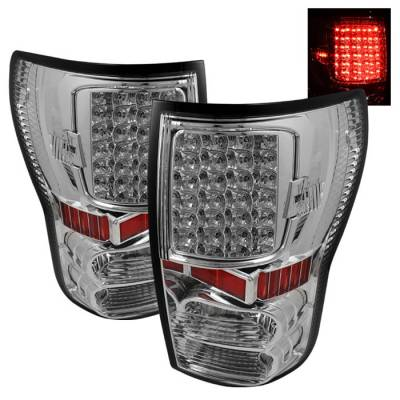 Headlights & Tail Lights - Tail Lights - Spyder - Toyota Tundra Spyder LED Taillights - Chrome - ALT-ON-TTU07-LED-C