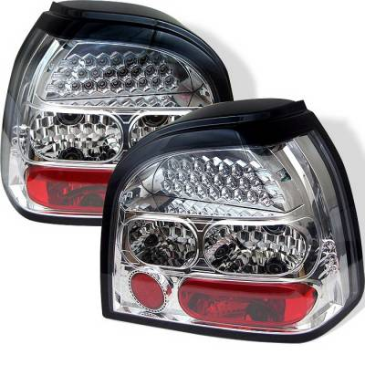 Headlights & Tail Lights - Tail Lights - Spyder Auto - Volkswagen Golf Spyder LED Taillights - Chrome - ALT-YD-VG92-LED-C