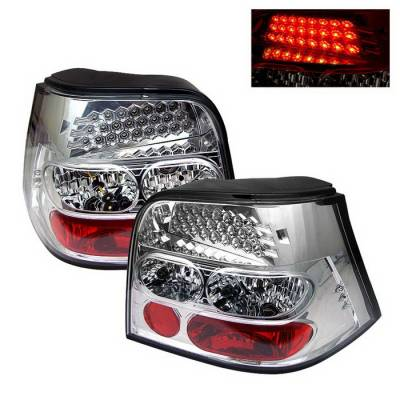 Headlights & Tail Lights - Tail Lights - Spyder Auto - Volkswagen Golf Spyder LED Taillights - Chrome - ALT-YD-VG98-LED-C