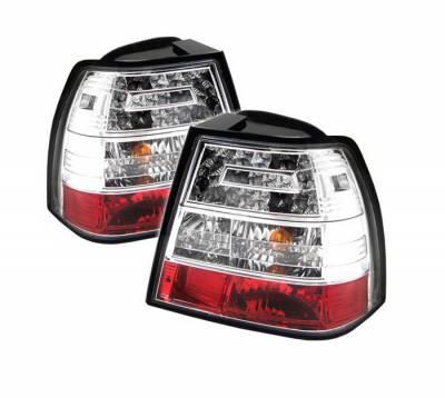 Headlights & Tail Lights - Tail Lights - Spyder Auto - Volkswagen Jetta Spyder LED Taillights - Chrome - ALT-YD-VJ99-LED-C