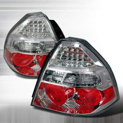 Headlights & Tail Lights - Tail Lights - Spec-D - Chevrolet Aveo Spec-D LED Taillights - Chrome - LT-AVE07CLED-KS