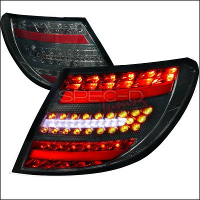 Headlights & Tail Lights - Tail Lights - Spec-D - Mercedes-Benz C Class Spec-D LED Taillights with Smoke Housing - LT-BW20408GLED-APC