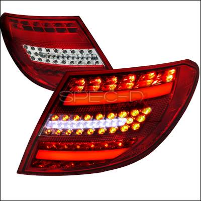Headlights & Tail Lights - Tail Lights - Spec-D - Mercedes-Benz C Class Spec-D LED Taillights - Chrome Housing - LT-BW20408RCLED-APC