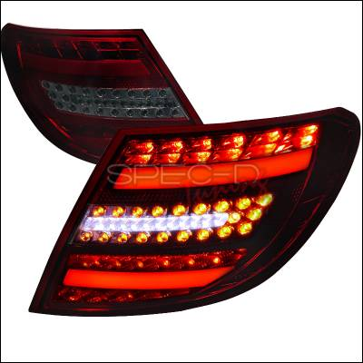 Headlights & Tail Lights - Tail Lights - Spec-D - Mercedes-Benz C Class Spec-D LED Taillights - Red & Smoke - LT-BW20408RGLED-APC