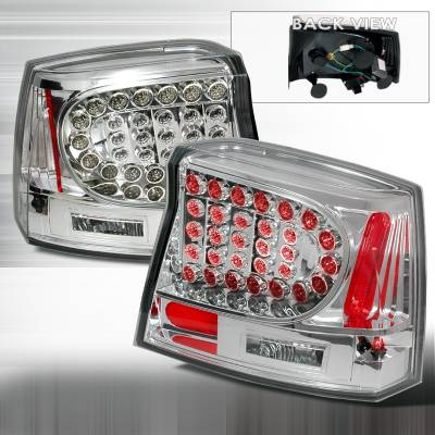 Headlights & Tail Lights - Tail Lights - Spec-D - Dodge Charger Spec-D LED Taillights - Chrome - LT-CHG05CLED-KS