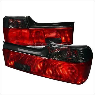Headlights & Tail Lights - Tail Lights - Spec-D - BMW 7 Series Spec-D Taillights - Red & Smoke - LT-E3288RG-APC