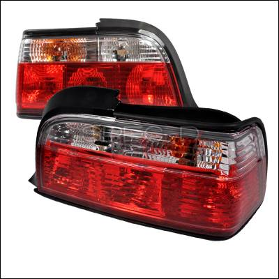 Headlights & Tail Lights - Tail Lights - Spec-D - BMW 3 Series 2DR Spec-D Taillights - Red & Clear - LT-E362RPW-APC