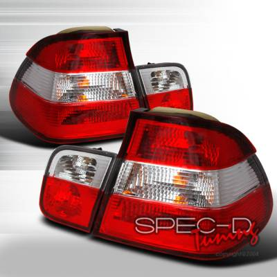 Headlights & Tail Lights - Tail Lights - Spec-D - BMW 3 Series 2DR Spec-D Taillights - Red & Clear - LT-E362RPW-DP