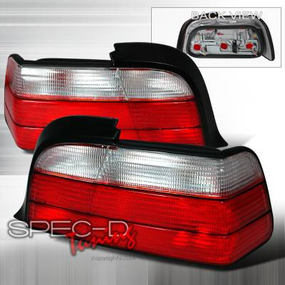 Headlights & Tail Lights - Tail Lights - Spec-D - BMW 3 Series 2DR Spec-D Altezza Taillights - Red & Clear - LT-E362RPW-KS