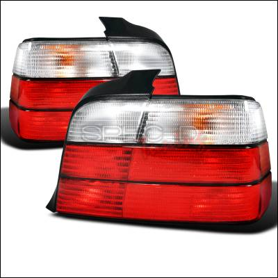 Headlights & Tail Lights - Tail Lights - Spec-D - BMW 3 Series 4DR Spec-D Taillights - Red & Clear - LT-E364RPW-DP
