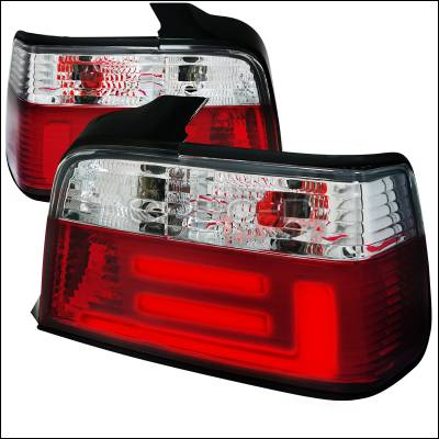 Headlights & Tail Lights - Tail Lights - Spec-D - BMW 3 Series 4DR Spec-D Taillights - Red & Smoke - LT-E364RPW-F2-APC