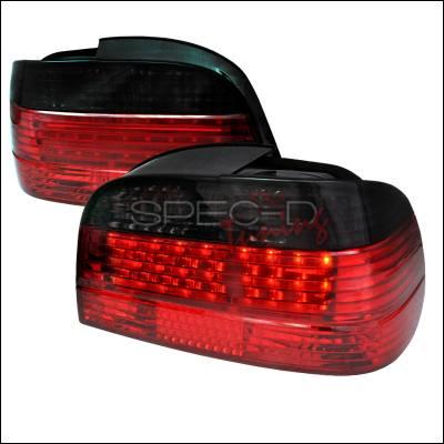 Headlights & Tail Lights - Tail Lights - Spec-D - BMW 7 Series Spec-D Fiber Optic LED Taillights - Red & Smoke - LT-E384RG-F2-APC