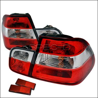 Headlights & Tail Lights - Tail Lights - Spec-D - BMW 3 Series 4DR Spec-D Altezza Taillights - Red & Clear - LT-E464RPW-APC