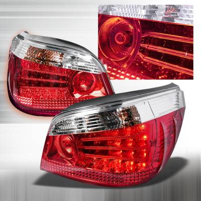 Headlights & Tail Lights - Tail Lights - Spec-D - BMW 5 Series Spec-D LED Taillights - Chrome - LT-E6004CLED-KS