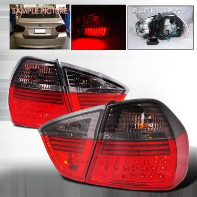 Headlights & Tail Lights - Tail Lights - Spec-D - BMW 3 Series 4DR Spec-D LED Taillights - Red & Smoke - LT-E9005RGLED-APC