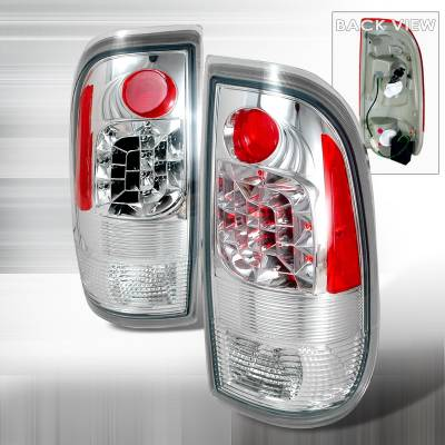 Headlights & Tail Lights - Tail Lights - Spec-D - Ford F350 Spec-D LED Taillights - Chrome - LT-F15097CLED-KS