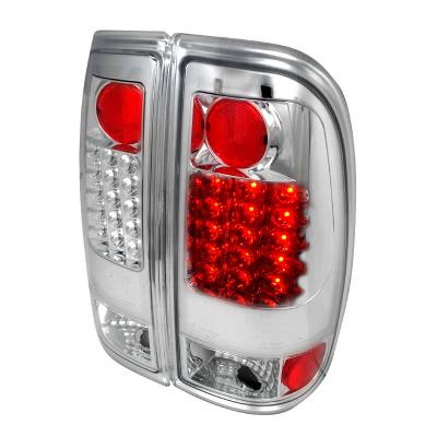 Headlights & Tail Lights - Tail Lights - Spec-D - Ford F350 Spec-D LED Taillights - Chrome - LT-F15097CLED-TM