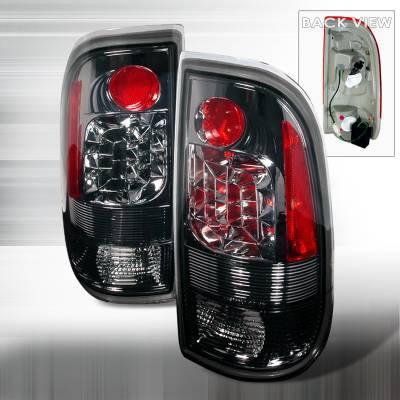 Headlights & Tail Lights - Tail Lights - Spec-D - Ford F350 Spec-D LED Taillights - Smoke - LT-F15097GLED-KS