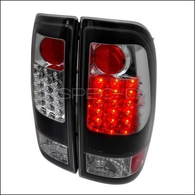Headlights & Tail Lights - Tail Lights - Spec-D - Ford F350 Spec-D LED Taillights - Black - LT-F15097JMLED-TM