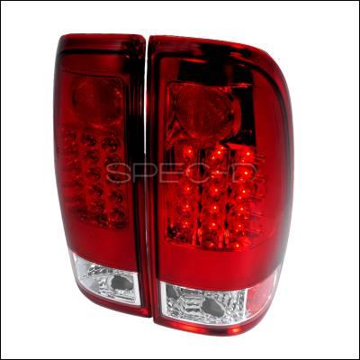 Headlights & Tail Lights - Tail Lights - Spec-D - Ford F350 Spec-D LED Taillights - Red - LT-F15097RLED-TM