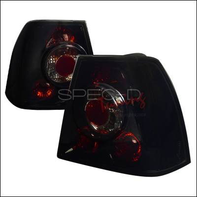 Headlights & Tail Lights - Tail Lights - Spec-D - Volkswagen Jetta Spec-D Euro Taillights - Glossy - Black Housing with Smoke Lens - LT-JET99BB-TM