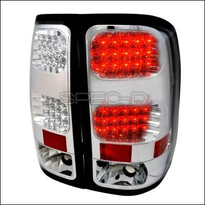 Headlights & Tail Lights - Tail Lights - Spec-D - GMC Sierra Spec-D LED Taillights - Chrome - LT-SIE07CLED-TM