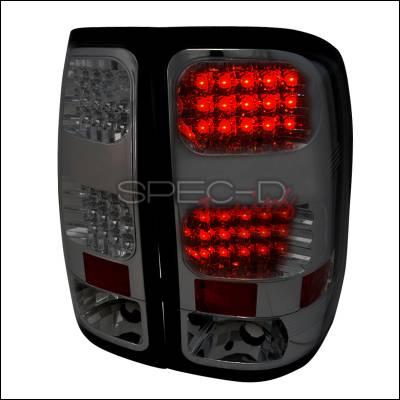 Headlights & Tail Lights - Tail Lights - Spec-D - GMC Sierra Spec-D LED Taillights - Smoke - LT-SIE07GLED-TM