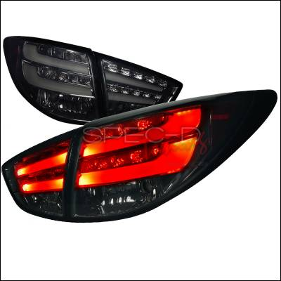 Headlights & Tail Lights - Tail Lights - Spec-D - Hyundai Tucson Spec-D LED Taillights - Smoke with Lights - Bar - LT-TUC10GLED-TM