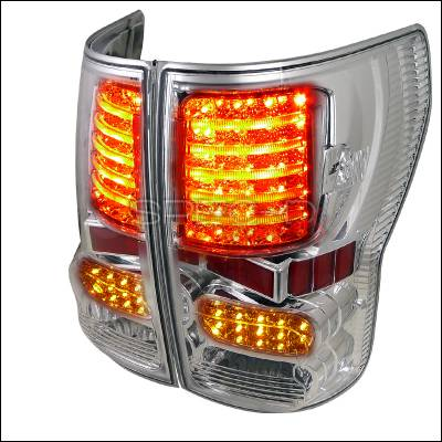 Headlights & Tail Lights - Tail Lights - Spec-D - Toyota Tundra Spec-D LED Taillights - Chrome Housing - LT-TUN07CLED-JP