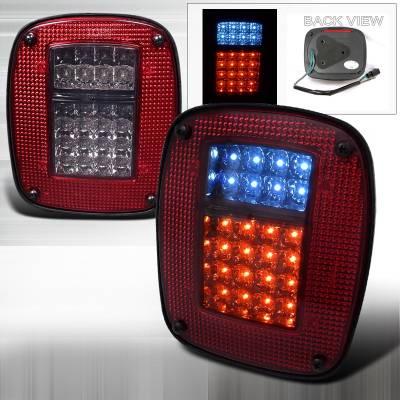 Headlights & Tail Lights - Tail Lights - Spec-D - Jeep Wrangler Spec-D LED Taillights - Red & Smoke - LT-WRG87RGLED-APC