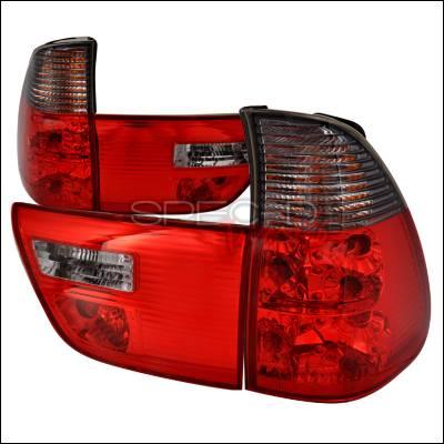 Headlights & Tail Lights - Tail Lights - Spec-D - BMW X5 Spec-D Altezza Taillights - Red & Smoke - LT-X500RG-APC