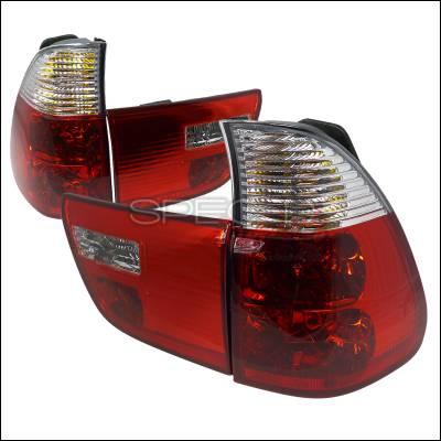 Headlights & Tail Lights - Tail Lights - Spec-D - BMW X5 Spec-D Altezza Taillights - Red & Clear - LT-X500RPW-APC