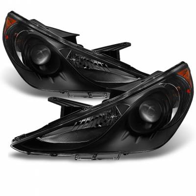 Headlights & Tail Lights - Headlights - Spyder - Hyundai Sonata Spyder Projector Headlights - LED Halo - DRL - Black - 444-HYSON11-DRL-BK